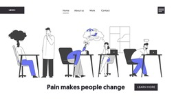 Professional Burnout Syndrome Website Landing Page. Exhausted Managers at Work Sitting at Table with Head Down and Low Battery, Holidays Dream Web Page Banner. Flat Vector Illustration Line Art