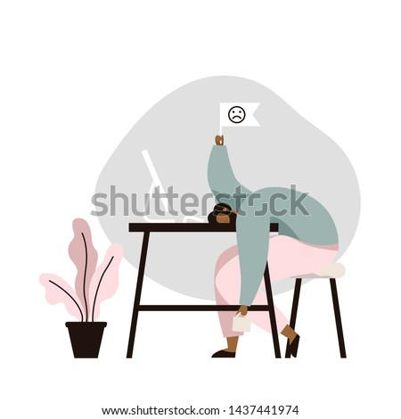 Professional burnout. Tired male worker sitting at the table. Long working day in office. Mental health problems. Flat vector illustration.