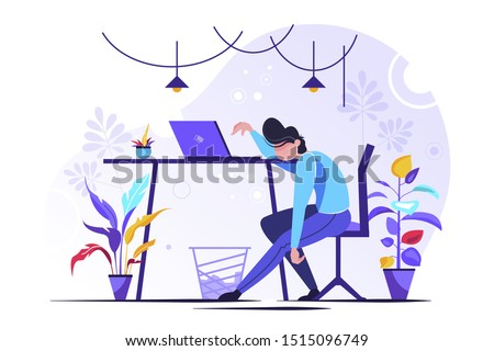 Professional burnout. Young exhausted female manager sitting at the office. Long working day. Millennials at work. Flat editable vector illustration, clip art