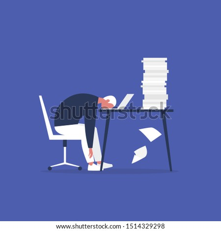 Professional burnout. Young exhausted male manager sitting at the office. Long working day. Millennials at work. Flat editable vector illustration, clip art