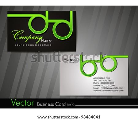 Professional business card set or visiting card set. Artistic, designer template card with funky look in green and black color, EPS 10 Vector illustration.