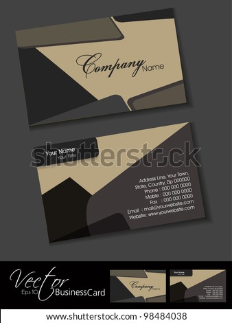 Professional business card set, template or visiting card. Artistic, abstract corporate look in dark and bright colors, EPS 10 Vector illustration.
