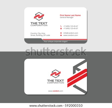Cool blue business card template vector professional business card template for your corporation gray background in mockup friedricerecipe Gallery