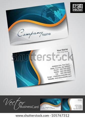 Professional business cards, template or visiting card set. Artistic wave effect with globe, blue color, abstract corporate look, EPS 10 Vector illustration.