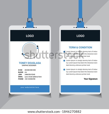 Professional Business ID Card Design Template, Modern ID Card Design Template, Company ID Card Design Template, Blue Color Stock photo ©
