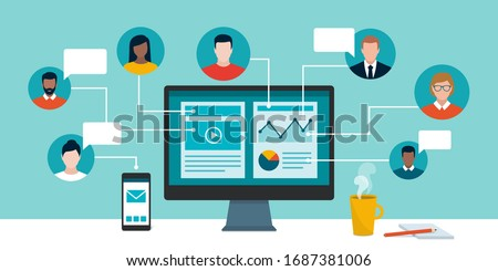 Professional business people and freelancers connecting together online and working on the same project, they are sharing and editing the same file, remote working concept