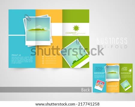 abstract green creative tri fold brochure flyer design template