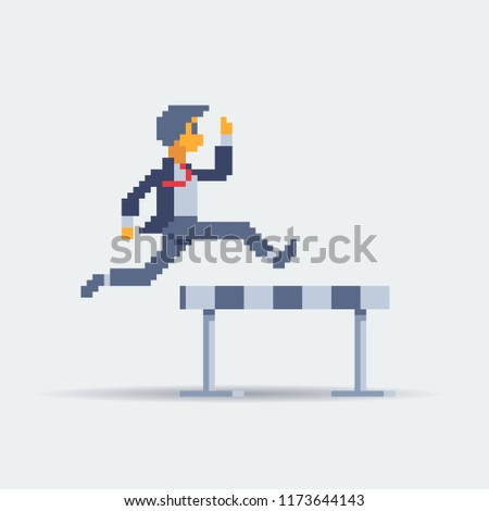 Professional businessman jumping over of hurdles. Business vector cartoon illustration for concept on overcoming challenges. Pixel art character.