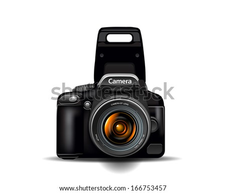 Professional camera photocamera vector illustration