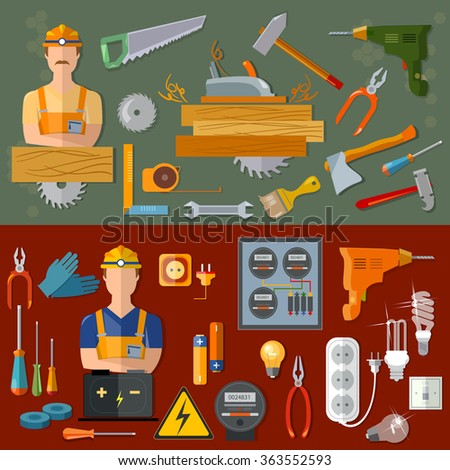 Professional carpenter and professional electrician professions vector banners