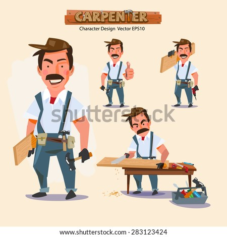 professional carpenter in various action with typographic. careers character design - vector illustration