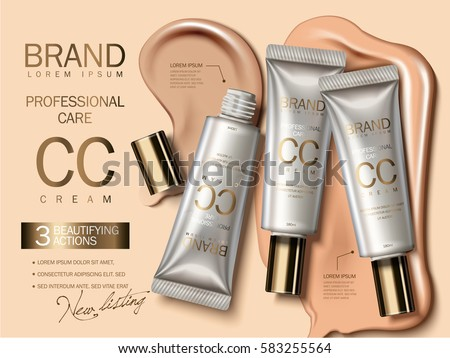 Shutterstock Professional CC cream ads, foundation in plastic tube with liquid texture on the background in 3d illustration, attractive cosmetic ads
