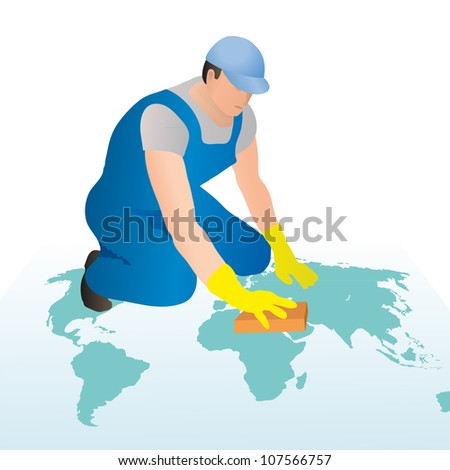 Professional cleaner wiping the world`s map with a sponge