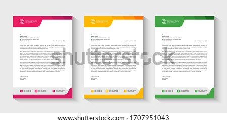 Professional colorful modern abstract business letterhead set vector design template. Yellow, pink, green three color company letterhead design template.