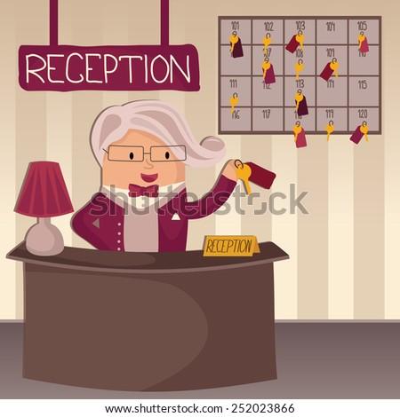 Professional concierge at hotel reception desk