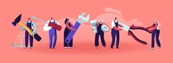 Professional Construction Workers with Tools. Tiny Characters in Uniform Overalls Standing in Row with Huge Instruments and Equipment for Home Repair and Renovation. Cartoon Flat Vector Illustration