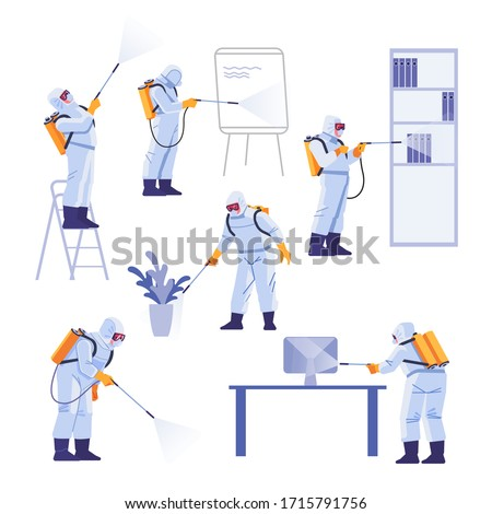 Professional contractors doing pest control at office. Coronavirus protection. Hazmat team in protective suits decontamination during virus outbreak. Cartoon vector illustration.
