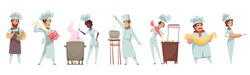 Professional cooking set of people in uniform with culinary tools during dishes preparation isolated vector illustration