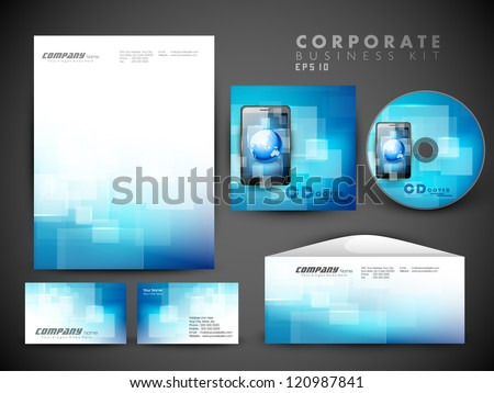 Professional corporate identity kit or business kit for your business includes CD Cover Business Card Envelope and Letter Head Designs in EPS 10 format