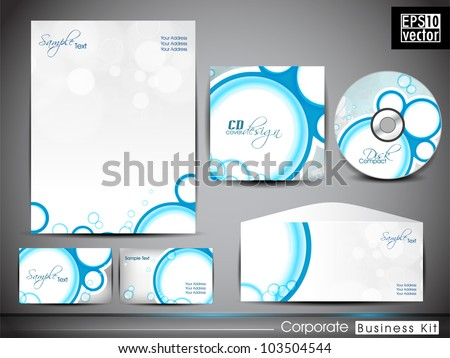 Professional Corporate Identity kit or business kit with abstract design in blue color includes Envelope ,CD Cover, Business Card and Letter Head Designs in EPS 10.