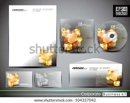 Professional corporate identity kit or business kit with artistic, abstract 3D glowing element for your business includes CD Cover, Business Card, Envelope and Letter Head Designs in EPS 10 format.
