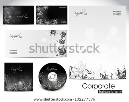 Professional corporate identity kit or business kit with artistic, floral design for your business includes CD Cover, Business Card, Envelope and Letter Head Designs in EPS 10 format.