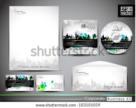 Professional corporate identity kit or business kit with artistic, music background for your business includes CD Cover, Business Card, Envelope and Letter Head Designs in EPS 10 format.