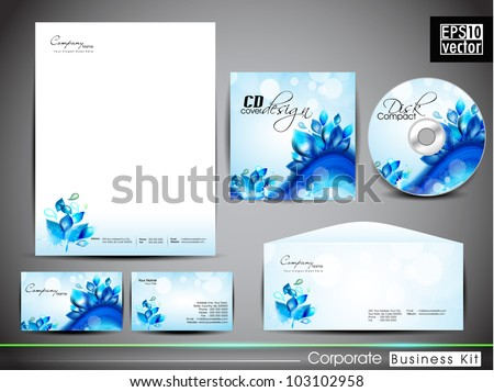 Professional corporate identity kit or business kit with artistic, water wave and splash effect for your business includes CD Cover, Business Card, Envelope and Letter Head Designs in EPS 10 format.