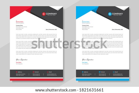 Professional corporate letterhead design in red & blue color with geometric shapes. Print ready modern & elegant business letterhead template for business projects. Vector graphic illustration.