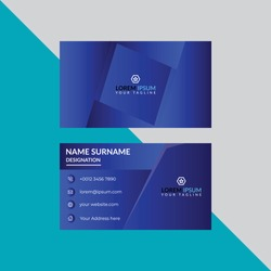 Professional Corporate visiting card Template Front and back view of White and Blue Business card with abstract design.
