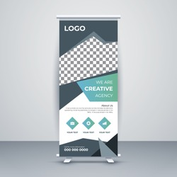 Professional creative roll up banner vertical template design, for brochure, business, flyer, infographic. modern x-banner and flag-banner advertising. vector illustration