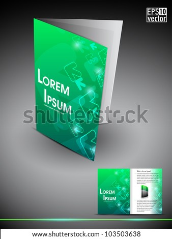 Professional 3D business flyer template or corporate brochure or cover design on green creative abstract pattern with inner pages for publishing, print and presentation.EPS 10.
