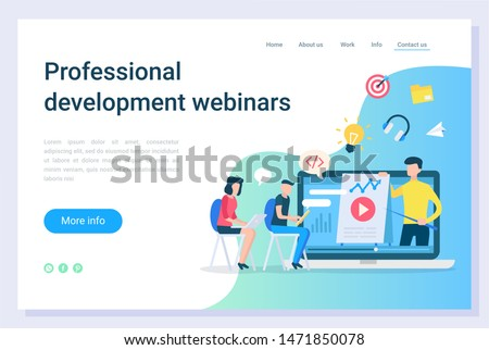 Professional development webinars, electronic library. Online education technology, communication with laptop, business teaching, learning vector. Webpage or website template, landing page flat style