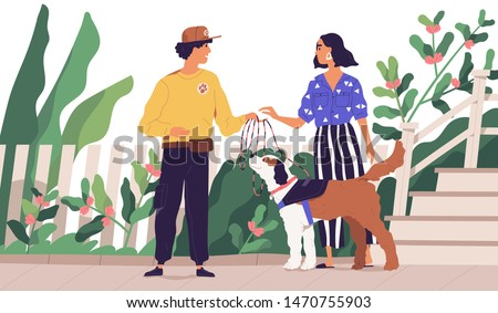 Professional dog walker getting domestic animal from owner. Cute woman giving leash to on-demand pet walking service worker. Young man taking pup for walk. Flat cartoon colorful vector illustration.