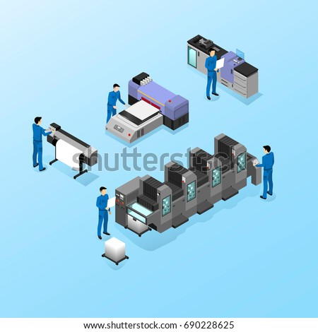 Professional equipment for various types of printing in the field of advertising, offset and digital as well as inkjet and ultraviolet printing, workers are servicing machines in production