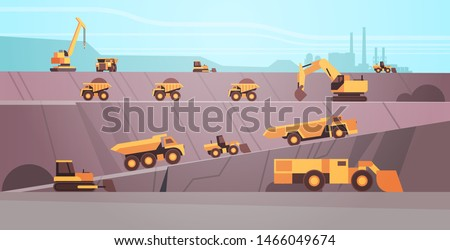 professional equipment working on coal mine production. extraction industry mining transport concept. opencast stone quarry background flat horizontal.