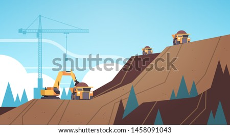 professional equipment working on coal mine production extraction industry mining transport concept opencast stone quarry mountain background flat horizontal