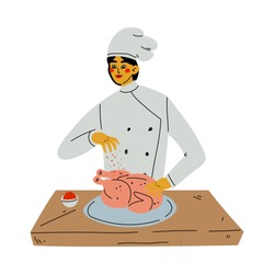 Professional Female Chef Cooking Chicken, Kitchener Character Wearing Classic Traditional White Uniform Working in Restaurant or Cafe Vector Illustration