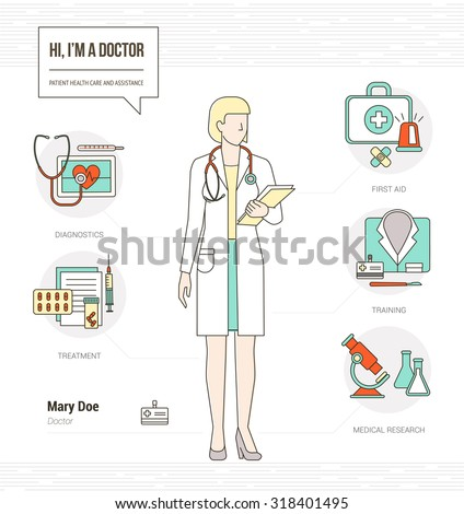 Professional female doctor infographic skills resume with tools, medical equipment and icons set