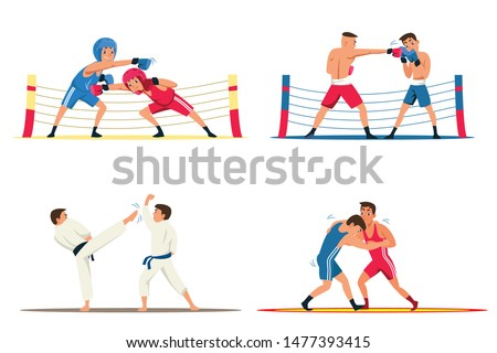 Professional fighters flat illustrations set. Martial arts competition, sports training. Karate, kickboxing, wrestling championship. Adult and young sportsmen practicing vector cartoon characters