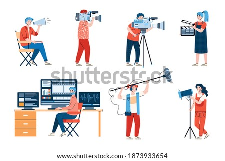 Professional filmmakers with equipment set of flat cartoon vector illustrations isolated on white background. Workers of film production industry or cinematography.