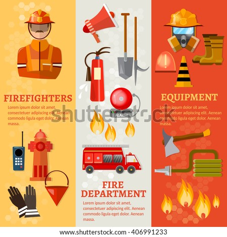 Professional firefighters banners fire safety equipment fireman vector illustration