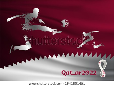 Professional football or soccer player in action on the stadium backgrounded covered with Qatar Flag. Creative template design for FIFA World Cup Qatar 2022, which will be held in Qatar. Emblem vector