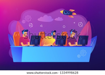 Professional gamers team with headsets at the table at computer playinng video games. E-sports team, group of gamers, pro gamers team concept. Bright vibrant violet vector isolated illustration