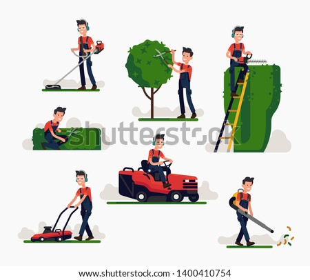 Professional gardener using garden machinery, equipment and tools: mowing, cutting, trimming grass and shrubbery, pruning trees and hedges. Man working in garden poses set