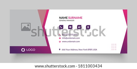 Professional geometric business and corporate email signature with an author photo place. Modern and minimalist layout white background and gradient shape design  Photo stock ©