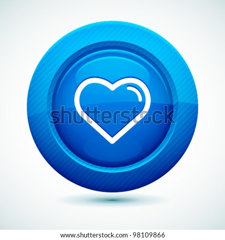 Professional Glossy Heart Icon. Vector illustration for your business website. - stock vector