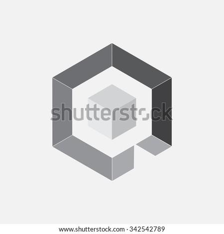 Professional Gray Logo Design Illustration