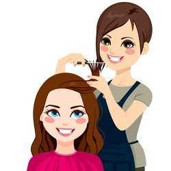 Professional hairdresser cutting fringe with scissors to beautiful curly hair brunette girl