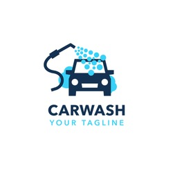 Professional hand car wash service logo design. Modern flat design style for your company branding.